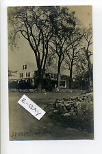 Georgetown MA Mass RPPC real photo home, road, stonewalls, tiny person, early