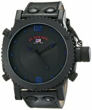 U.S. Polo Assn. Classic Mens Black Analog Leather Strap Watch