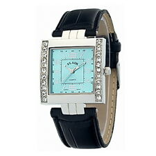 Edle Damenuhr Flair Armbanduhr Silber Blau PU Leder Strass 4212345019128