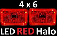 1pr 6x4 4x6 160x100 Semi Sealed H4 Lights Headlights LED Halo Angel Eye RED