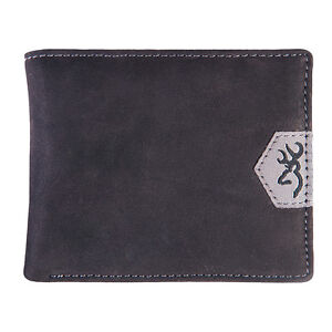 Brpwning Men's Black Genuine Leather Bifold Billfold Wallet - Buckmark Logo