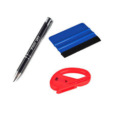 Bubble Removal Pen 3M Felt Edge Squeegee Vinyl Cutter Car Wrapping Tool Kit Set