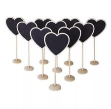 10 X Wooden Heart Chalk Board Stands For Wedding Table Numbers / Names