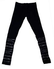 126599 New Desigual Text Printed Black Kids Leggings Pant 9 10 Years