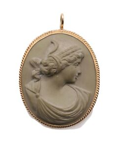 ANTIQUE Brooch GOLD HIGH RELIEF LAVA CAMEO PENDANT Victorian 14k LARGE