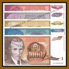 Yugoslavia 10 50 100 500 1000 Dinara Set, 1990 P-103/104/105/106/107 Unc