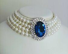 """Princess Diana 4 Row Pearl Chocker/Diamond & Sapphire Pendant Similarity 15"""""""