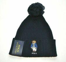 POLO by RALPH LAUREN Winter Wool Cotton HAT Men Boy Ski BEAR Pom Pom Navy