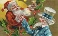 ~Uncle Sam & SANTA CLAUS~ Antique Patriotic Christmas Postcard~Unused -s570