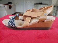 ST. JOHN'S BAY Embellished Silver Studs Denim Wedge Sandals Women's 12M. New