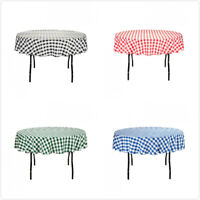 70 in. Round Polyester Tablecloth Gingham Checkered Party Event Picnic Wholesale