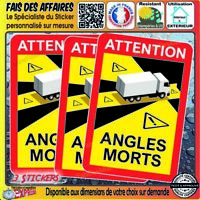 3 Sticker Autocollant OFFICIEL ANGLE MORT obligatoir sécurité camion camping car