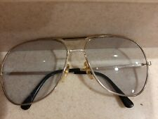 Vintage Mens Foster Grant Aviation sunglasses gold metal w/ black accent
