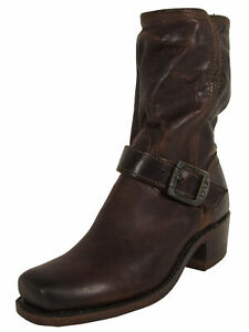 $398 Frye Womens Cavalry 8L Leather Boot Shoes, Dark Brown, US 5.5