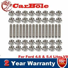 Stainless Steel Exhaust Manifold Studs Nuts Bolt Kit for Ford 4.6 & 5.4 Liter V8