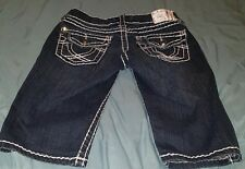 LA idol USA women's Jr Girls denim Jeans shorts Blue Size 1 Bling Big Stitch