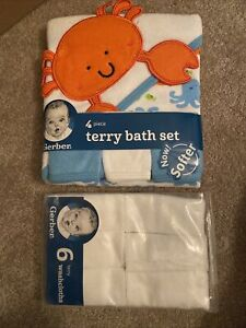 New Gerber 10 Piece Set: Terry Bath Hooded Towel & 3 Washcloths + 6 Washcloths