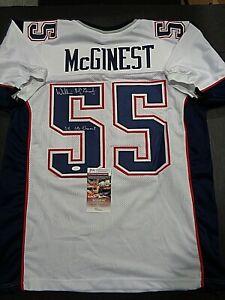 Willie Mcginest New England Patriots Autographed INSCRIB Custom Jersey COA-JSA=+