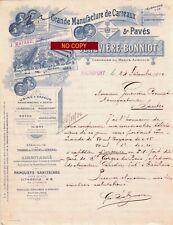 Beau Document du 24/12/1910 GENEVIERE BONNIOT Manu. de carreaux - Rochefort 17