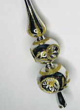 """Vintage 12"""" Tall Silver Gold Glitter Glass Christmas Tree Topper Triple Indent"""