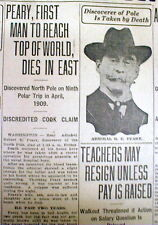 1920 newspaper w pic DEATH of ROBERT E PEARY 1st man to travel to the NORTH POLE