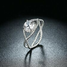 Sterling Silver Ring Round Center Twisted Criss-Cross Rope Shank Bride Wedding