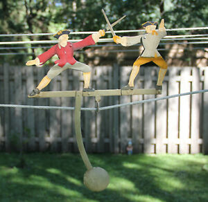 Early Colonial American Dueling Swordsmen Balance Toy Sky Hook Pendulum Repro