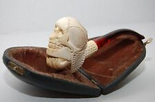 Antique Meerschaum Handcrafted Skull Pipe w/ Fitted Clam Shell Case Lucite Mouth