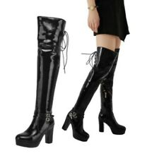 46/47/48 Women Pumps Patent Leather Over The Knee High Boots Platform Fashion L