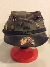 Civil War Replica Union  Leather Kepi Hat - With Several Vintage Hat Pins