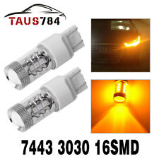 2x 7443 7440 T20 High Power 80W Amber Yellow LED Turn Signal Blinker Light Bulbs