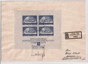 Österreich WIPA Block 1 auf Brief, Pracht, keine umgebogenen Ecken