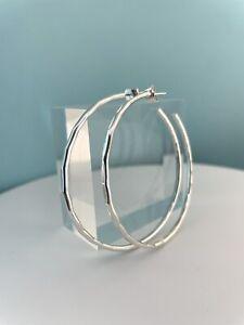 Solid Sterling Silver 925 Hammered/Faceted Hoop Earrings 45mm Handmade In UK