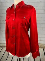 TALBOTS 100% Silk Blouse Shirt Top Size 8 RED - Holiday Christmas