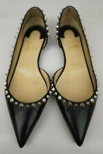 Christian Louboutin Irishell Flat Nappa Studded Half d'Orsay Black Size 37.5