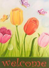 "New Tulips Welcome Garden Flag 12""X18"" Spring Decorative Designer Flag Cute Flag"