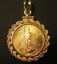 GENUINE GOLD 1/10 OZ AMERICAN EAGLE COIN GOLD PENDANT + 14K BEZEL