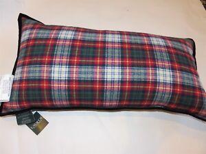 Ralph Lauren Plaid Brushed Cotton Oblong deco pillow NWT