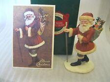 1991 Hallmark HEIRLOOM SANTA - A MERRIE CHRISTMAS with STAFF  + Postcard