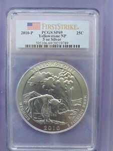 2010 .25C 5 oz 99.9 Silver ATB Yellowstone NP PCGS SP69, First Strike