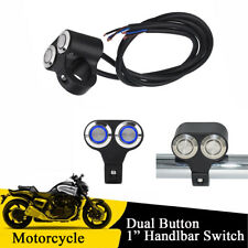 "1"" Motorcycle Handlebar Dual Button Self-return Switch with Blue LED Indicator"