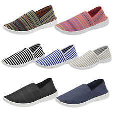 Ladies Elastic Stripe Slip On Espadrille Canvas Pumps Plimsoll Athletic Trainer