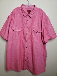 Foundry Button Front Shirt Men's 4XLT XXXX Large Tall Red Chambray Casual Office