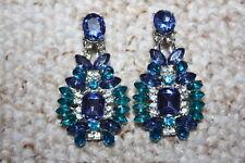 Drop Earrings Diamante Rhinestone Dangle Blue Green Party Crystal Statement Glam
