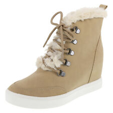 "WOMEN'S BRASH Lt Taupe ADRIAN 3"" Hidden Wedge FUR TRIM Sneaker SZ 13 NEW IN BOX"