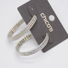 chico's women jewelry silver gold tone hoop earrings oval drop dangle hammered