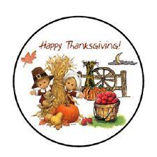 48 Happy Thanksgiving!!!  ENVELOPE SEALS LABELS STICKERS 1.2