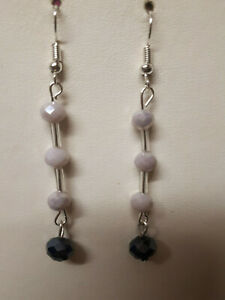 hand made black &pink agate earrings,hook,drop/dangle,silver plated.