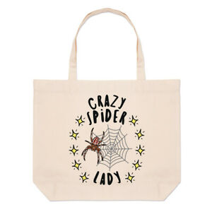 Crazy Spider Lady Stars Large Beach Tote Bag Mum Mothers Day Girlfriend Funny