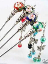4PCS Wholesale Rare Tibet Silver Cloisonne Hair Stick